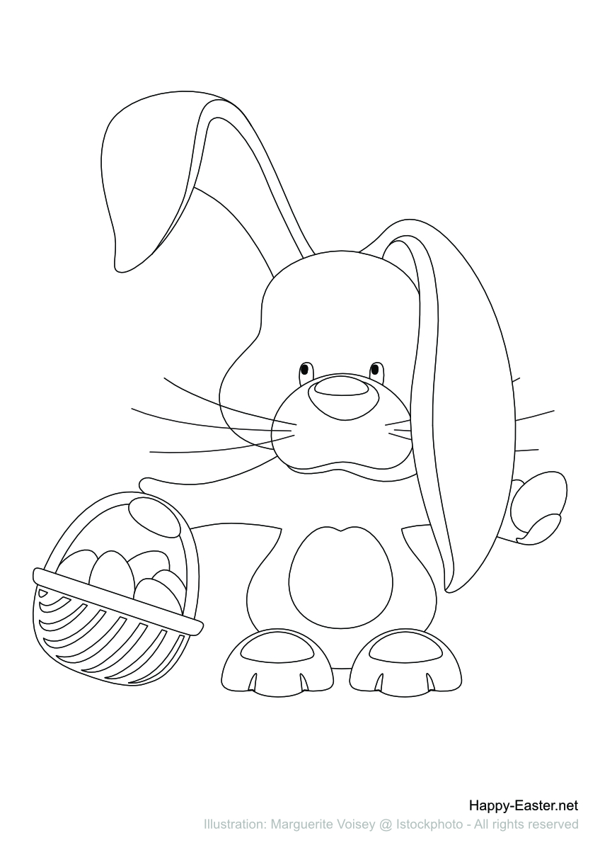 Easter bunny and basket of eggs (free printable coloring page)