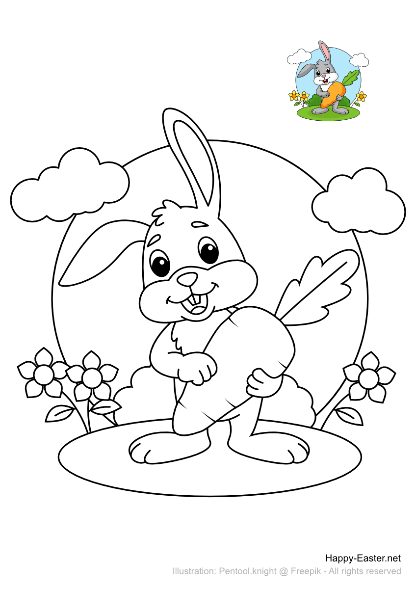 Easter hare holding a big carrot (free printable coloring page)