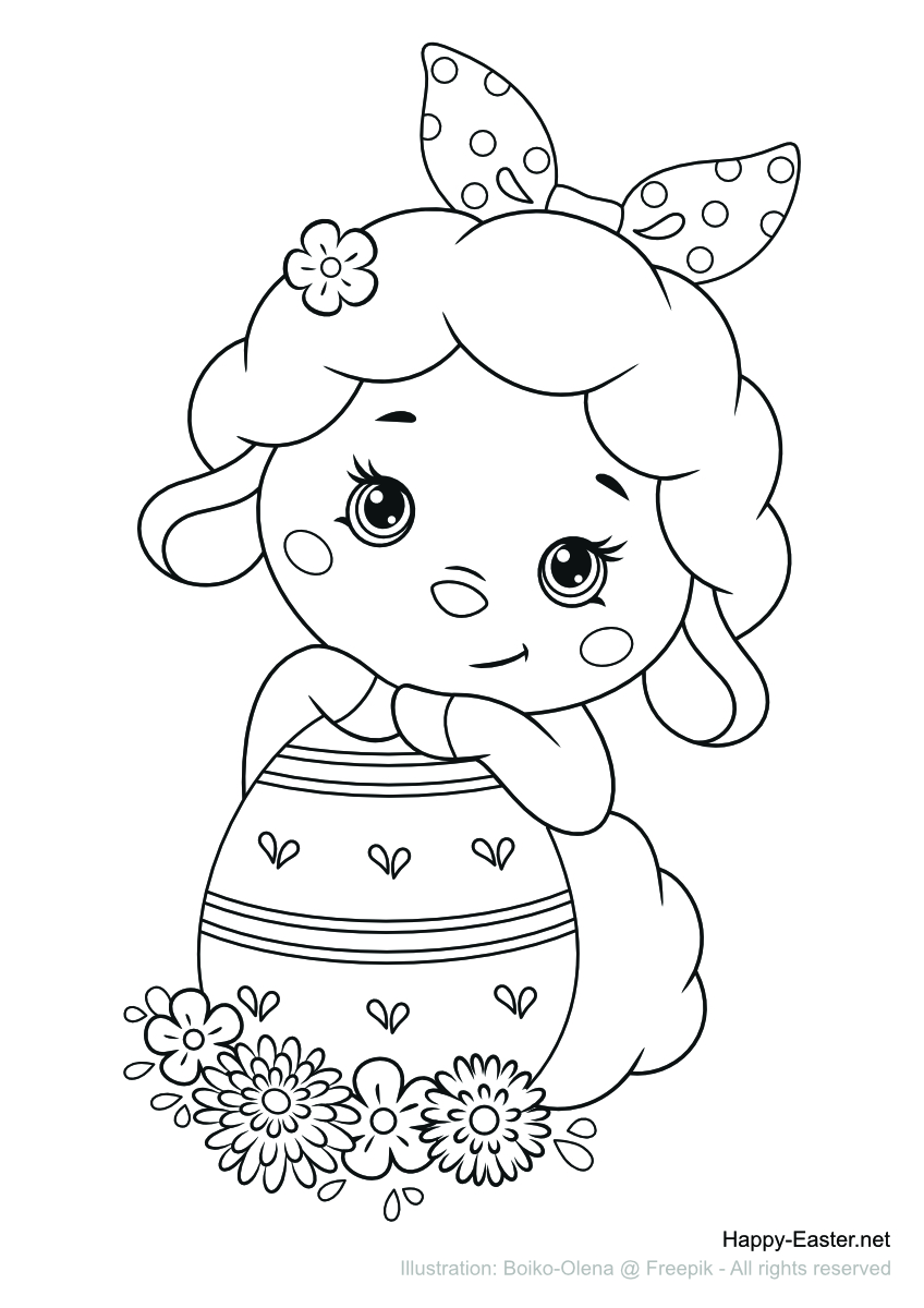 Funny lamb with an Easter egg (free printable coloring page)