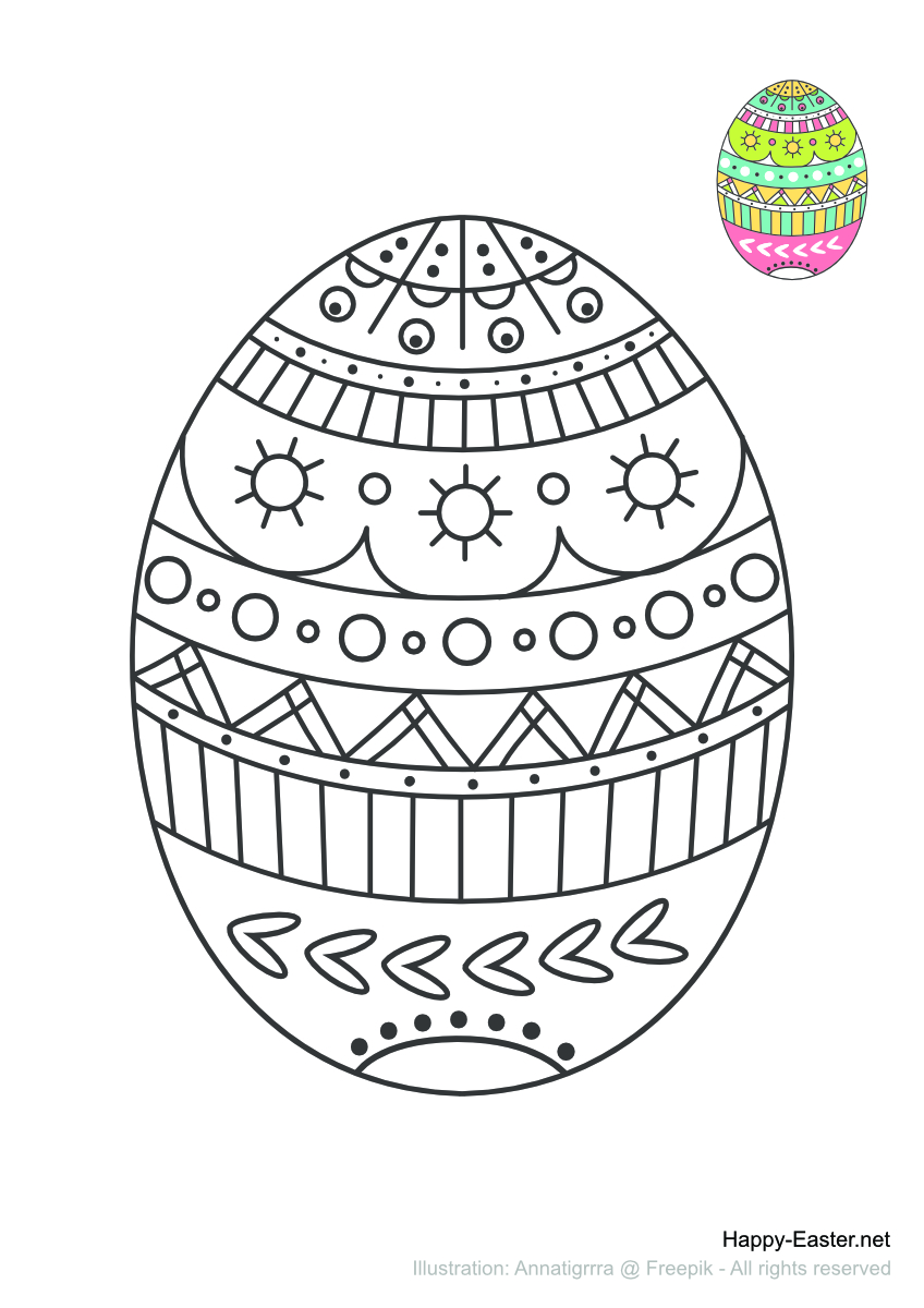 An Easter Egg to color (free printable coloring page)