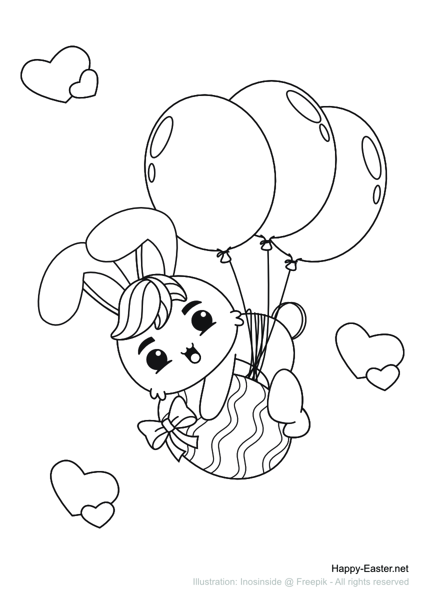 A Bunny flying in the air using balloons (free printable coloring page)