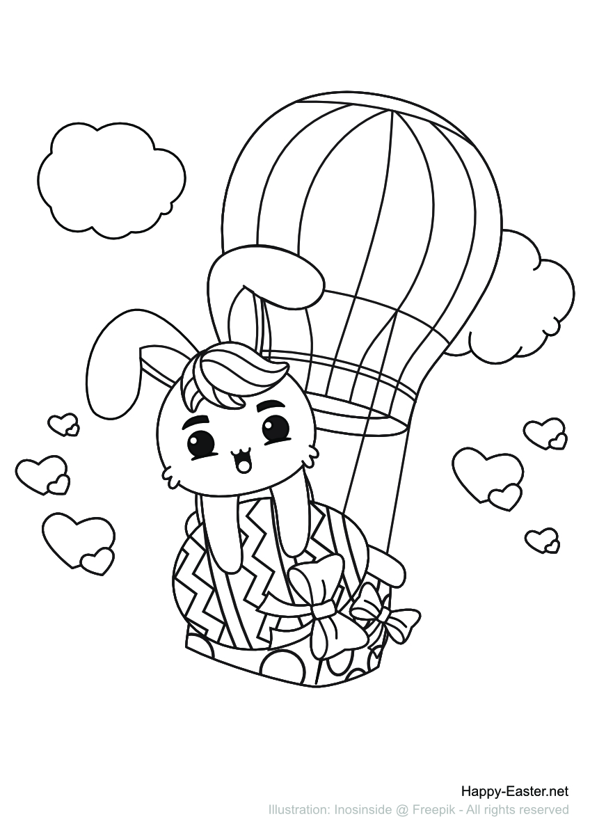 An Easter bunny in a hot-air balloon (free printable coloring page)