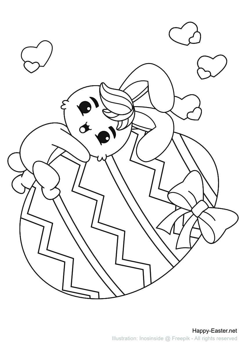 Bunny riding a big Easter egg (free printable coloring page)