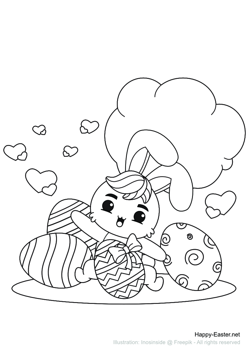 Bunny with Easter eggs (free printable coloring page)