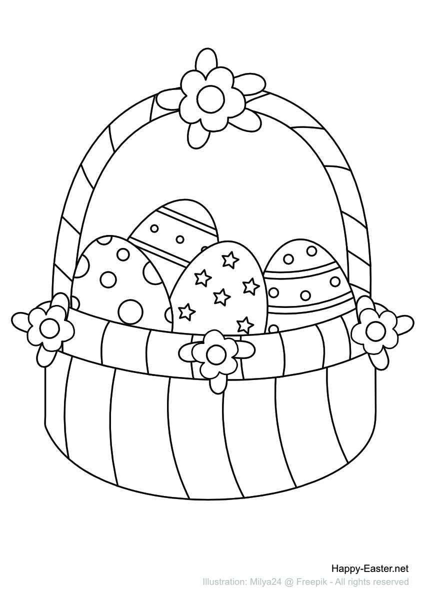 Basket full of Easter Eggs (free printable coloring page)
