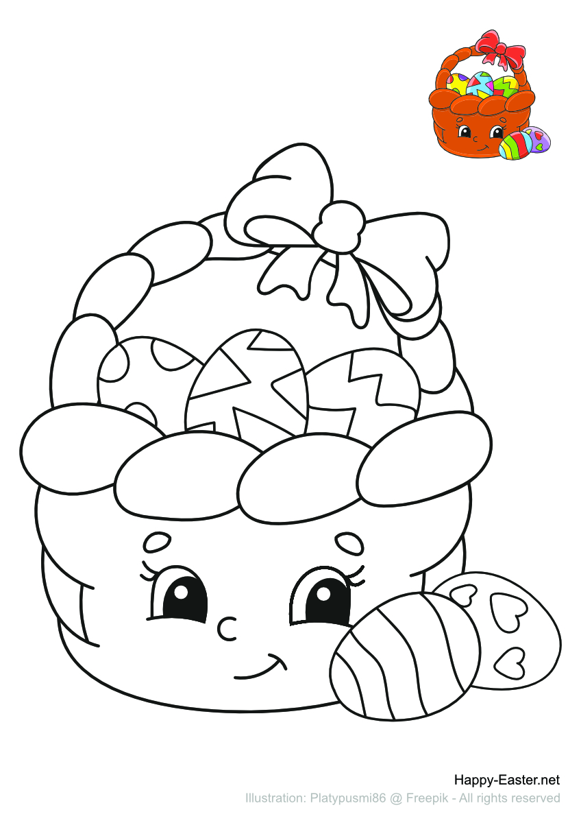 Colorful Cartoon Easter Basket (free printable coloring page)