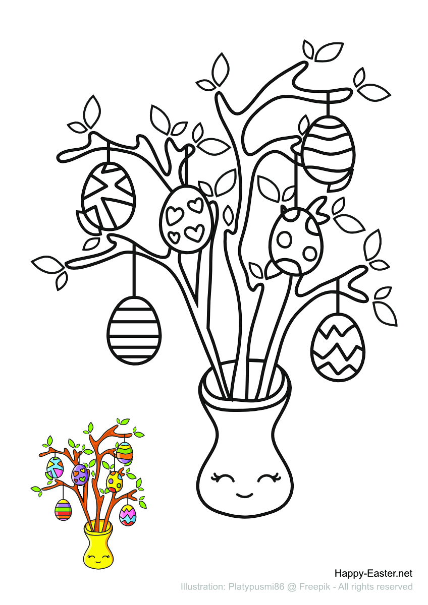 Shrub decorated with painted eggs (free printable coloring page)