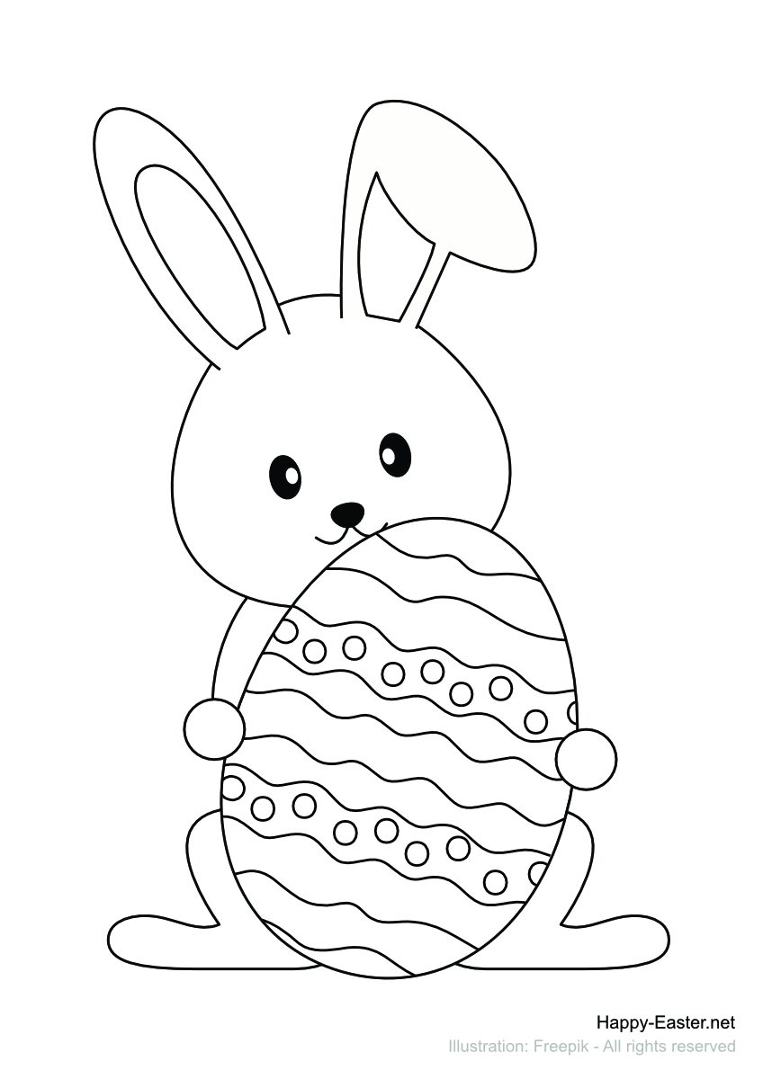 Cute bunny with decorated egg (free printable coloring page)
