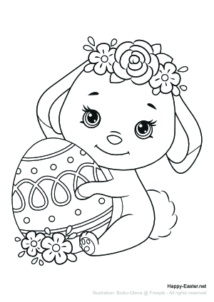 Paschal lamb wearing a crown of flowers (free printable coloring page)