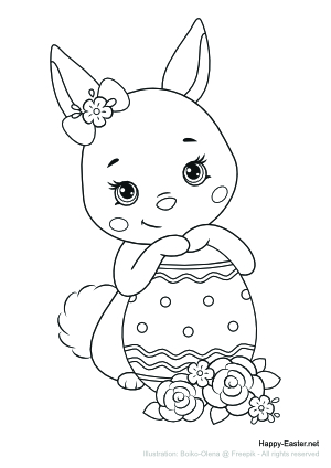 Cute bunny holding an Easter egg (free printable coloring page)