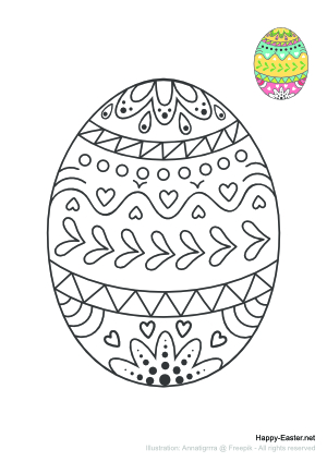 A colorful Easter egg (free printable coloring page)