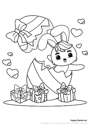 A funny bunny in an Easter egg (free printable coloring page)