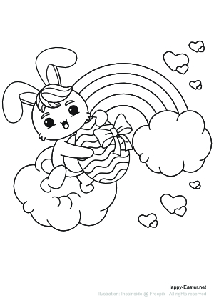 Easter bunny in front of a rainbow (free printable coloring page)