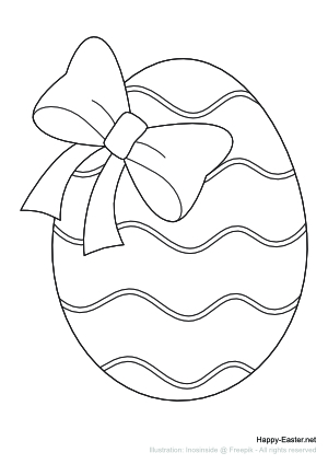 Easter Egg with a bow (free printable coloring page)