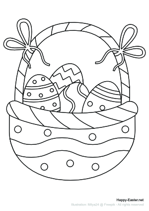 Easter Egg Basket with bows (free printable coloring page)