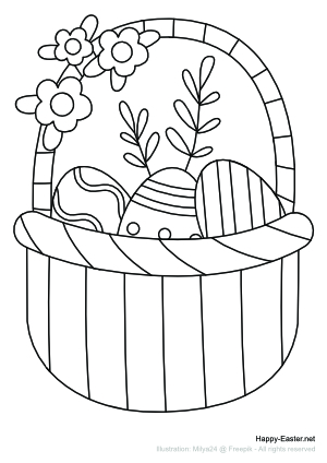 Easter basket with flowers (free printable coloring page)