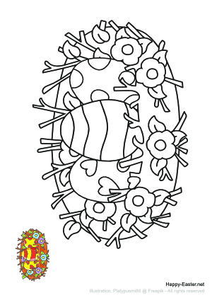 Cartoon nest filled with Easter eggs (free printable coloring page)