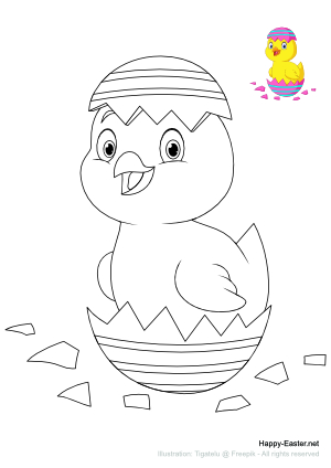 Chick hatching from Easter egg (free printable coloring page)